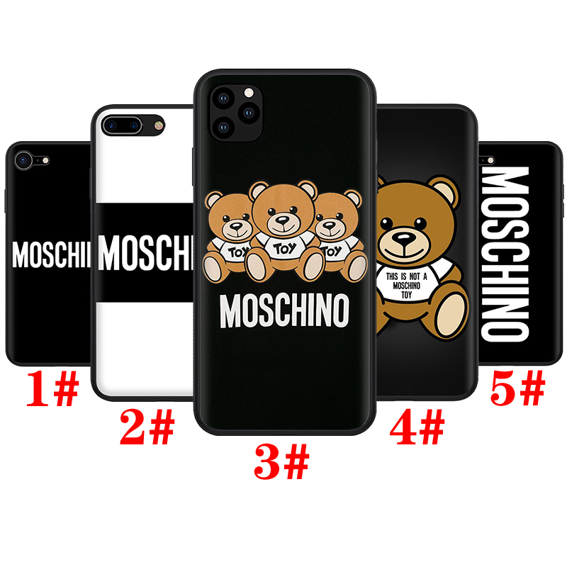 iPhone 11 12 Pro Mini XS Max X XR Soft Silicone TPU Phone Case T119 Moschino Brown Bear
