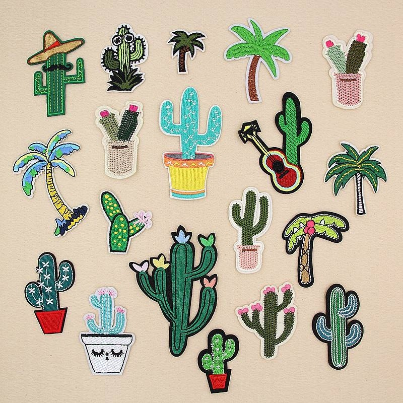 Cactus Cacti Barbary Fig Iron on Patches Badge Embroidered Applique Sewing Patch