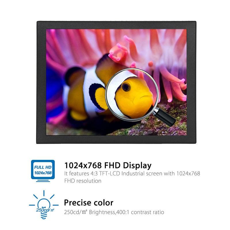 TFT LCD Monitor 4 : 3 1024 x 768 AV VGA Video Audio สำหรับ