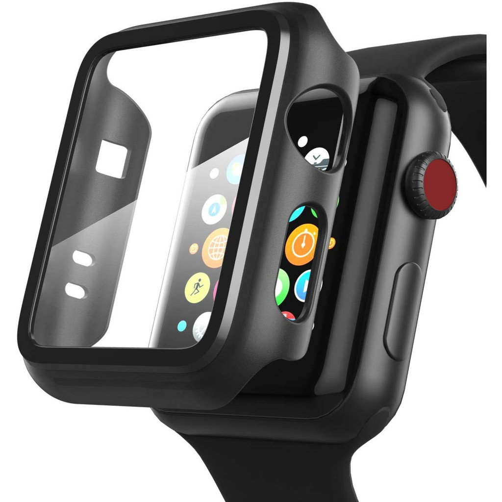 Apple Watch Case with Tempered Glass Screen Protector 2-in-1 Design Full Coverage Hard Cover 38mm 40mm 42mm 44mm for iWatch Series SE 6/5/4/3/2/1