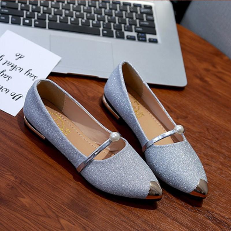 ❤รองเท้าแฟชั่นผู้หญิง❤รองเท้าส้นสูงแฟชั่นรองเท้าส้นสูงผู้หญิง✧✢✈M TWO SHOP รองเท้าคัชชู ใส่ทำงาน รุ่นนุ่มสบาย (กริตเตอร์