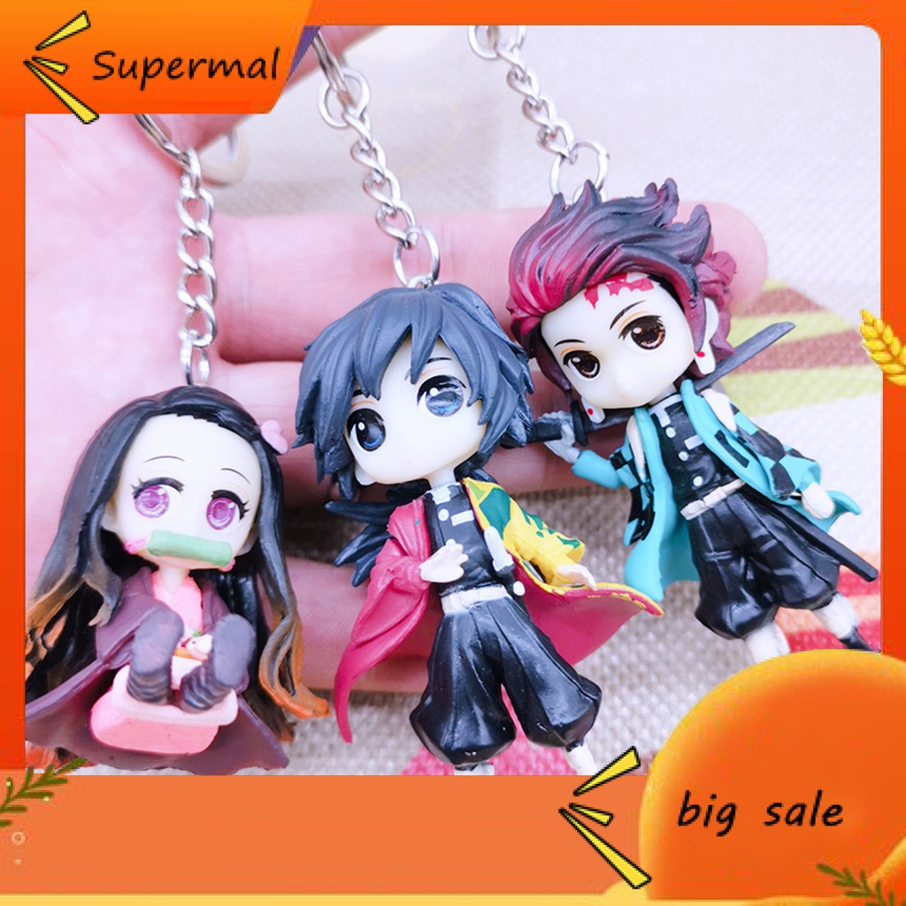 [Mt]  Anime Demon Slayer Model Figure Keychain Hanging Toy School Bag Pendant Gift