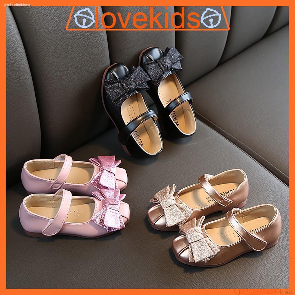 รองเท้าคัชชู แต่งโบว์ ขนาด 13.5 -18 ซม. สำหรับเด็กผู้หญิง