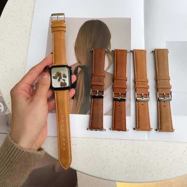 สาย applewatch 全手工定制 | 头层油牛皮复古磨砂表带适用于applewatch1~6代SE