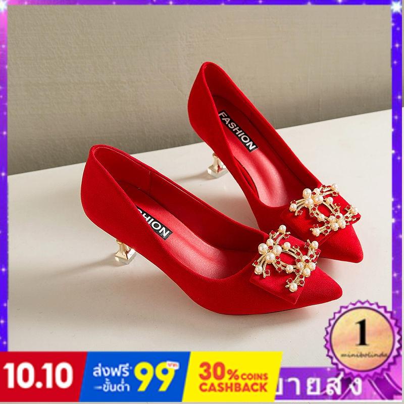⭐👠รองเท้าส้นสูง หัวแหลม ส้นเข็ม ใส่สบาย New Fshion รองเท้าคัชชูหัวแหลม  รองเท้าแฟชั่นใหม่รองเท้าเดียวของผู้หญิงรองเท้าส้