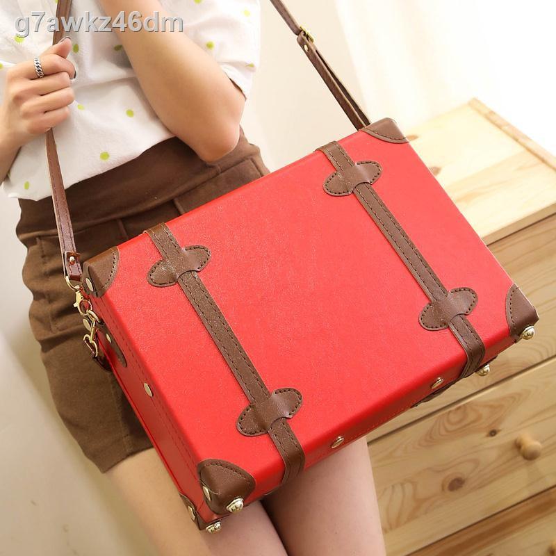 ✚●✆Retro suitcase กระเป๋าเดินทางใบเล็กน่ารักกระเป๋าเดินทางผู้หญิงขนาดเล็กกระเป๋าเครื่องสำอางค์สดขนาดเล็ก
