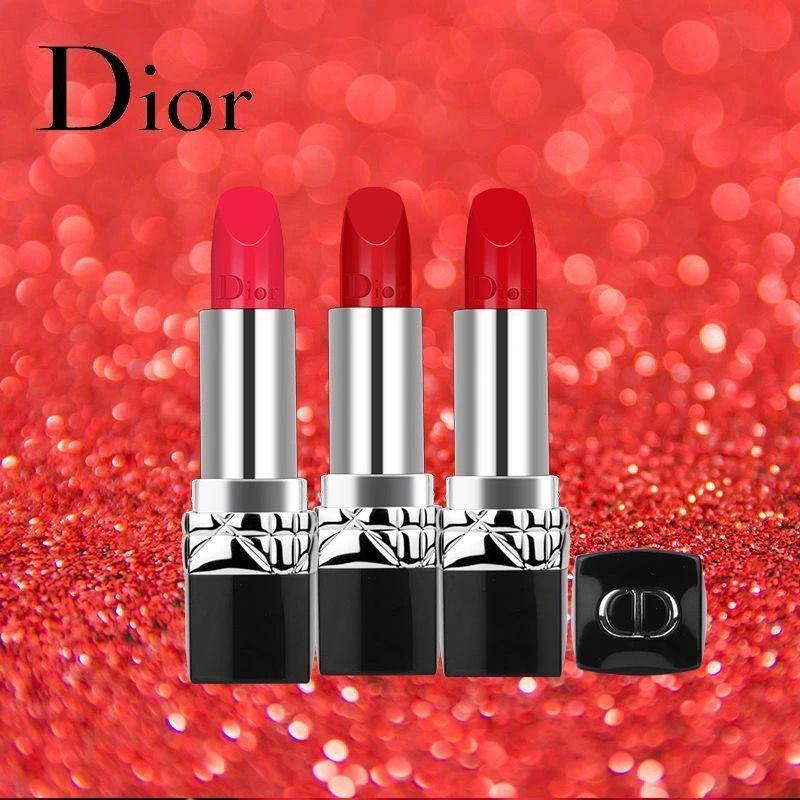 ลิปสติก Dior﹍♞Dior Dior Lipstick Moisturizing 999 Matte 888 Intense Blue Gold Lipstick 520 Red ของแท้นำเข้า