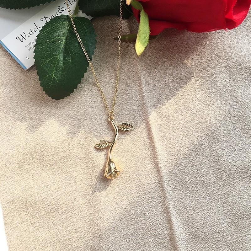 สร้อยคอ [J14]สร้อยคอ กุหลายสีทอง น่ารักมาก ราคาเกินคุ้ม 🚗ส่งจากไทย🚗