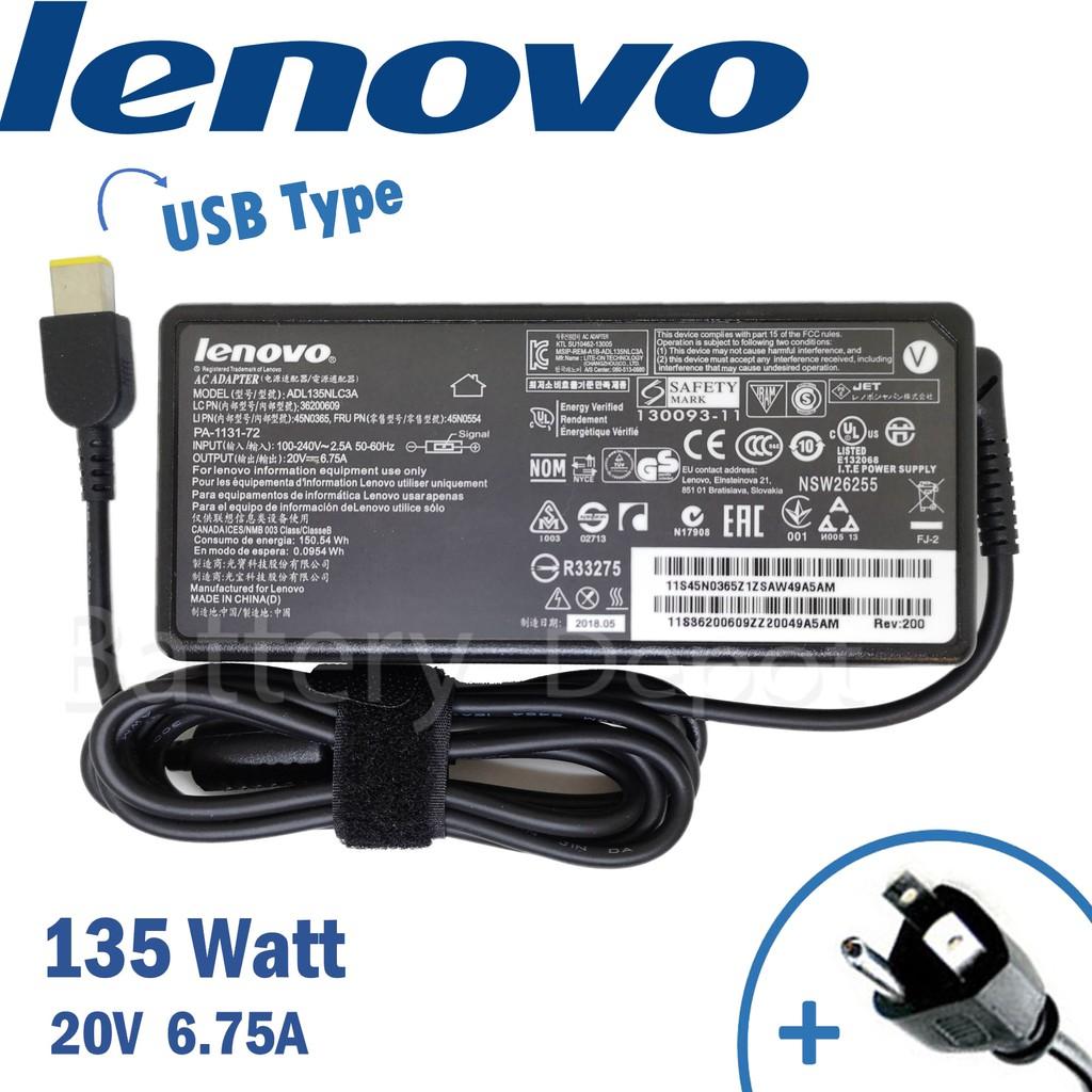 Lenovo Adapter ของแท้ 135w USB Thinkpad T440p Ideapad Y700 Y700-15ISK Ideapad Y520-15IKBN Y520-15IKBN สายชาร์จ Lenovo