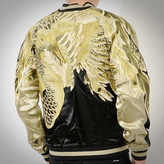 SUKAJAN  แบรนด์แท้ญี่ปุ่น Japanese Souvenir Jacket แจ็คเกตซูกาจันลาย GOLDEN PHOENIX