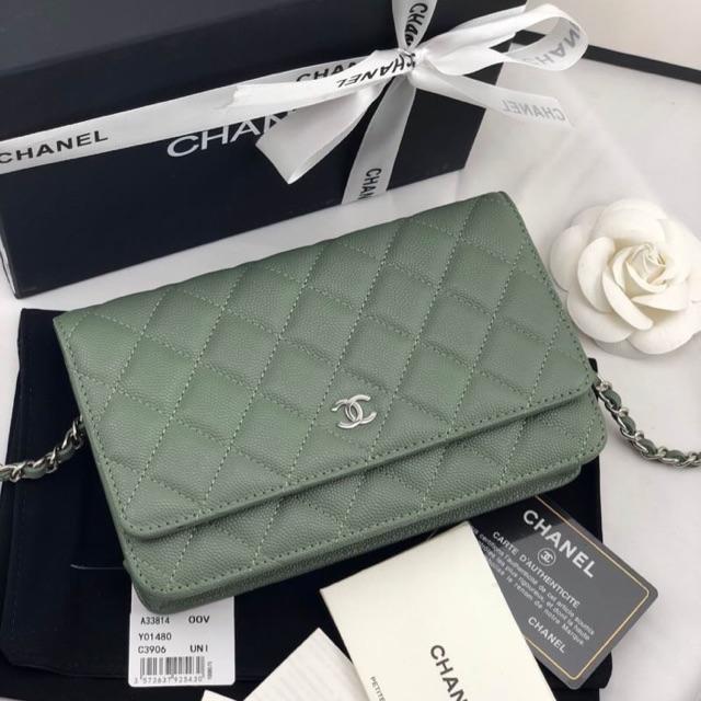 Chanel woc caviar 19cm หนังแท้ เขียวอะไหล่เงิน
