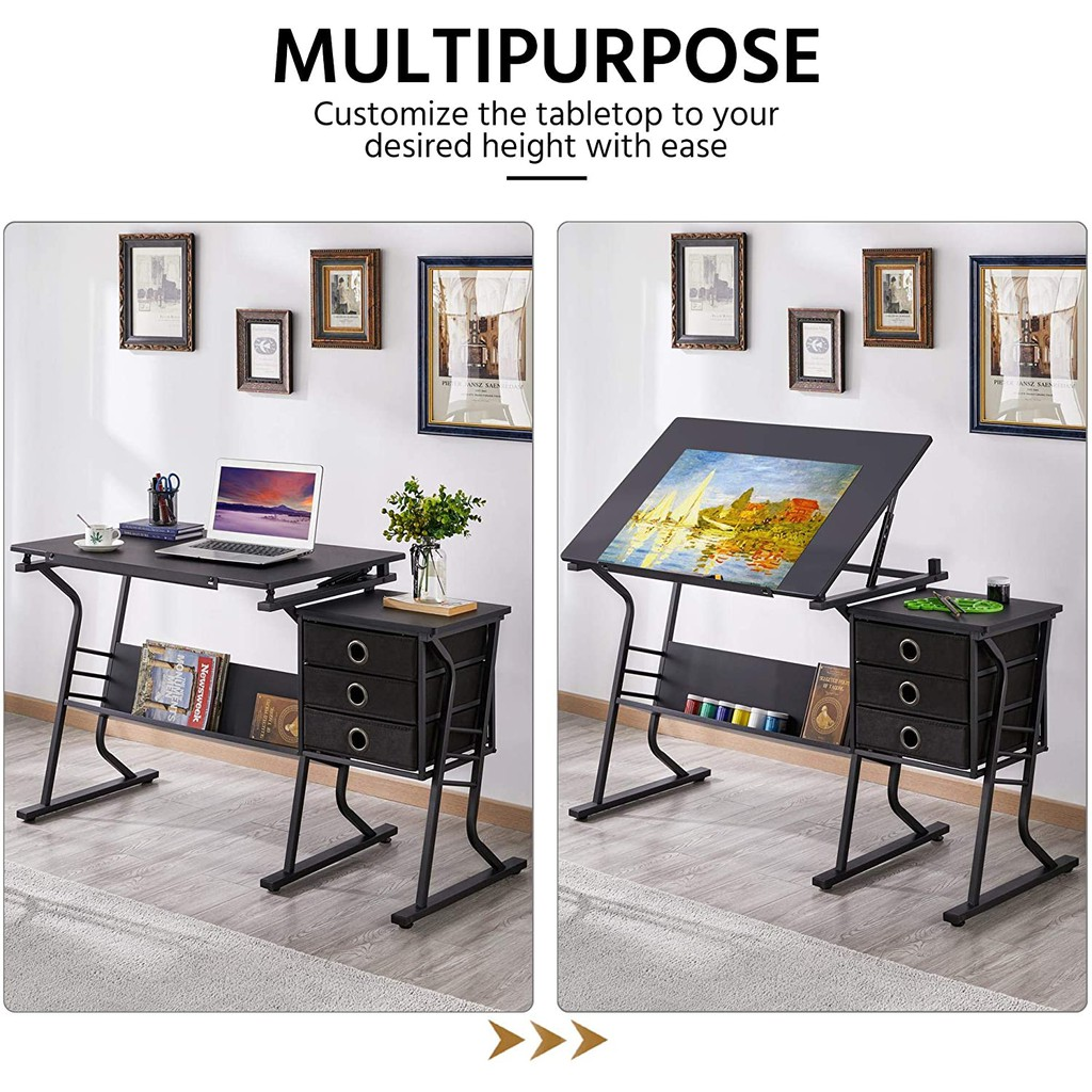 Adjustable Drafting Table Drawing Draft Art Craft Table Desk With Stool And Storage Drawers Design Work Station 4 988