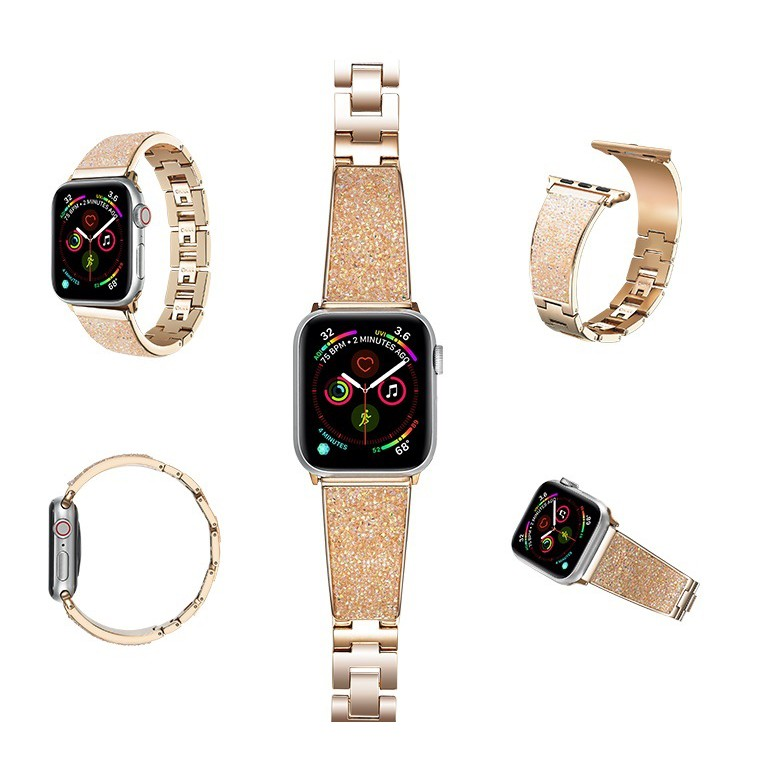 Luxury สายนาฬิกา + เคส Apple Watch Straps เหล็กกล้าไร้สนิม เพชรพลอย สาย Applewatch Series 6 5 4 3 2 1, Apple Watch SE สา