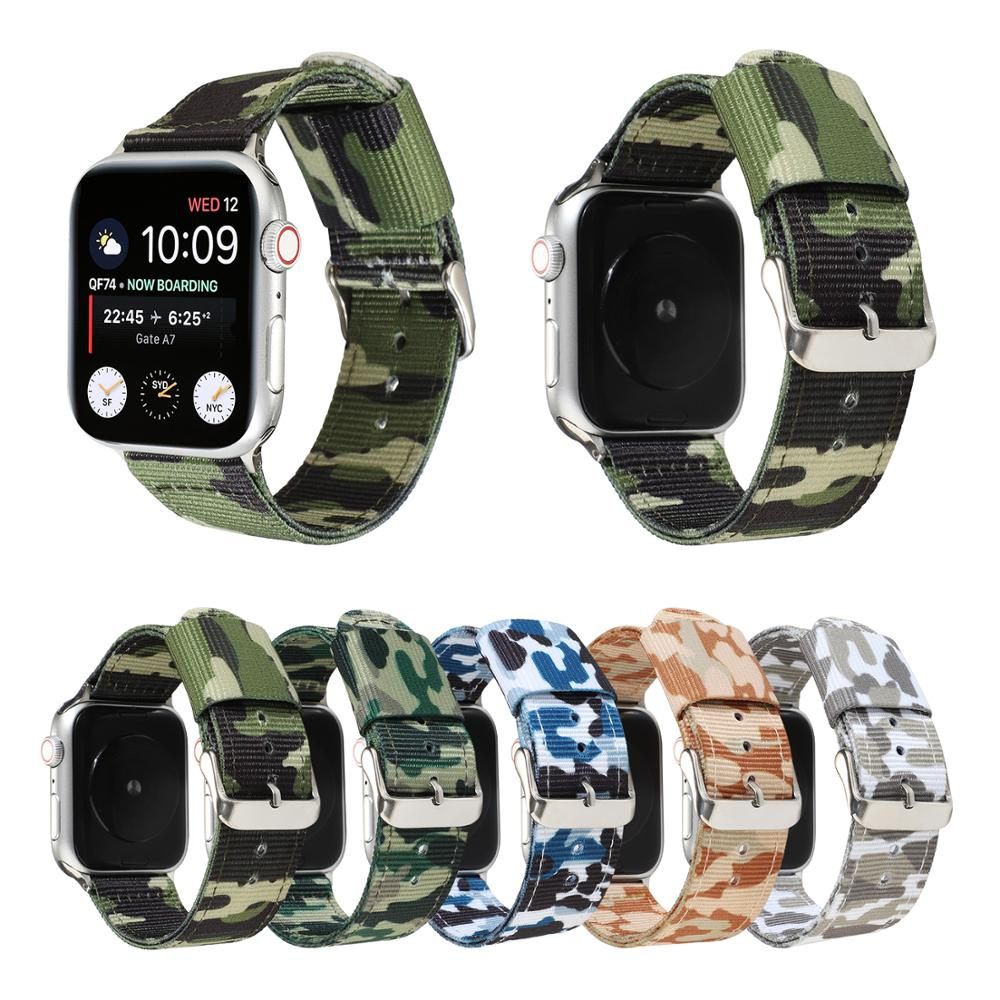Army green camouflage band Apple watch band Iwatch 6 SE 5 nylon strap 38mm 40mm 42mm 44mm Series 6 SE 5 4 3 21 Sports Wr