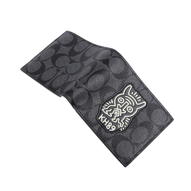 す☻กระเป๋าสตางค์สั้นCoach กระเป๋าสตางค์ผู้ชายรุ่นใหม่พิมพ์ลายสีเทาดำ kh89กระเป๋าสตางค์ใบสั้นเรียบง่ายของแท้