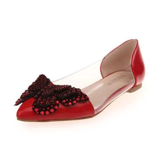 รองเท้าคัชชู หัวแหลม🔥รองเท้าคัชชูผู้หญิง ใส่นิ่มสบายเท้า รองเท้าคัชชู แบน สุด โปร่งใส โบว์ แฟชั่น จุดเจาะน้ำรองเท้าสตรี