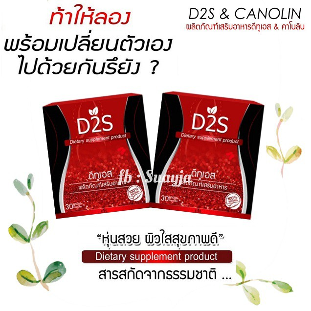 D2S ดีทูเอส (D2S & CANOLIN) อาหารเสริมช่วยเร่งการเผาผลาญ ลดน้ำหนัก 2 กล่อง