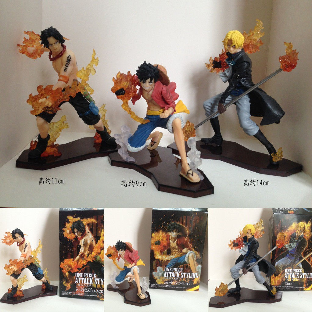 3X ONE PIECE Portgas·D Ace Monkey D Luffy Sabo Anime Figurine Figure Figuras Toy