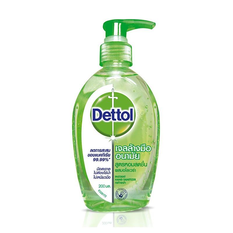 เจลล้างมืออนามัยแอลกอฮอล์ 70% สูตรหอมสดชื่นผสมอโลเวล่า เดทตอล Dettol  ขนาด 200ml