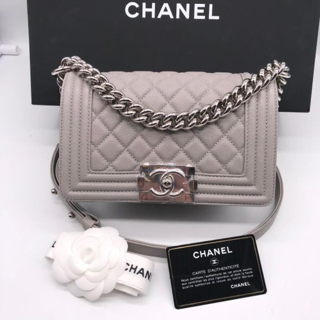 "New Chanel Boy 8"" grey caviar shw holo28  full set copy rec"