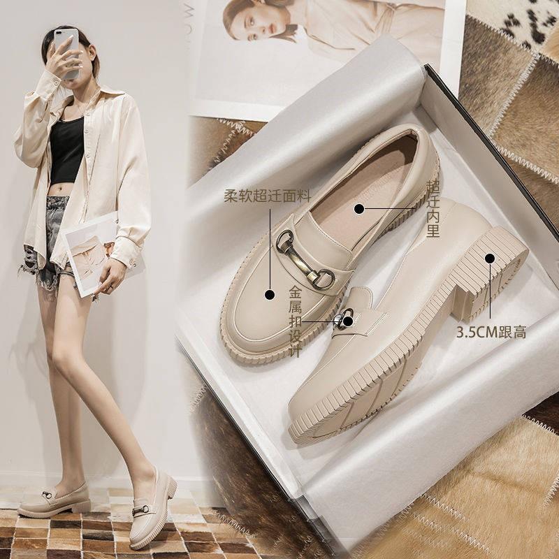 รองเท้าผู้หญิง รองเท้าคัชชู ♕ลมอังกฤษรองเท้าหนังขนาดเล็กหญิง 2021 ฤดูใบไม้ผลิใหม่ย้อนยุครองเท้าป่าสีดำ JK หนังนิ่มรองเท้