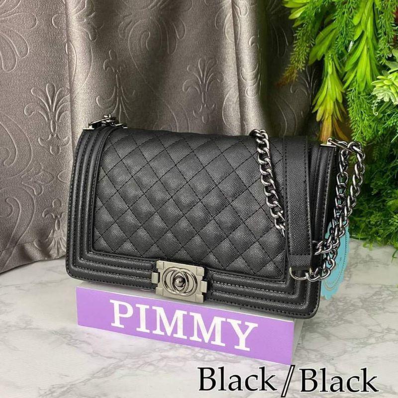 #มีเก็บปลายทาง#พิมมี่#pimmy#บอย#กระเป๋า#แท้#มีการ์ด#10นิ้ว#หนังคาเวียร์