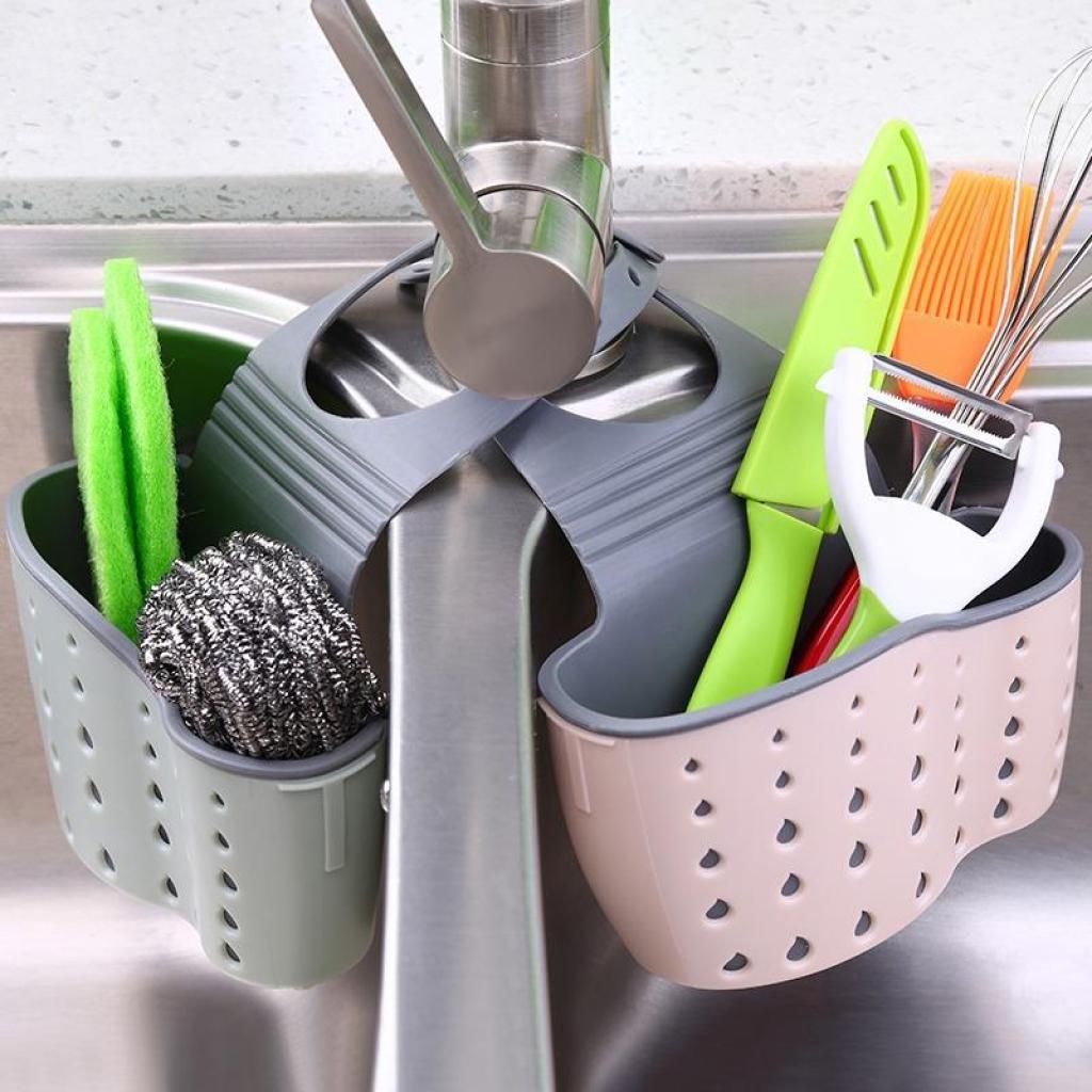 ประหยัดพิ้นที่ ที่เก็บน้ำยาล้างจาน ที่เก็บฟองน้ำ แขวนได้ คละ