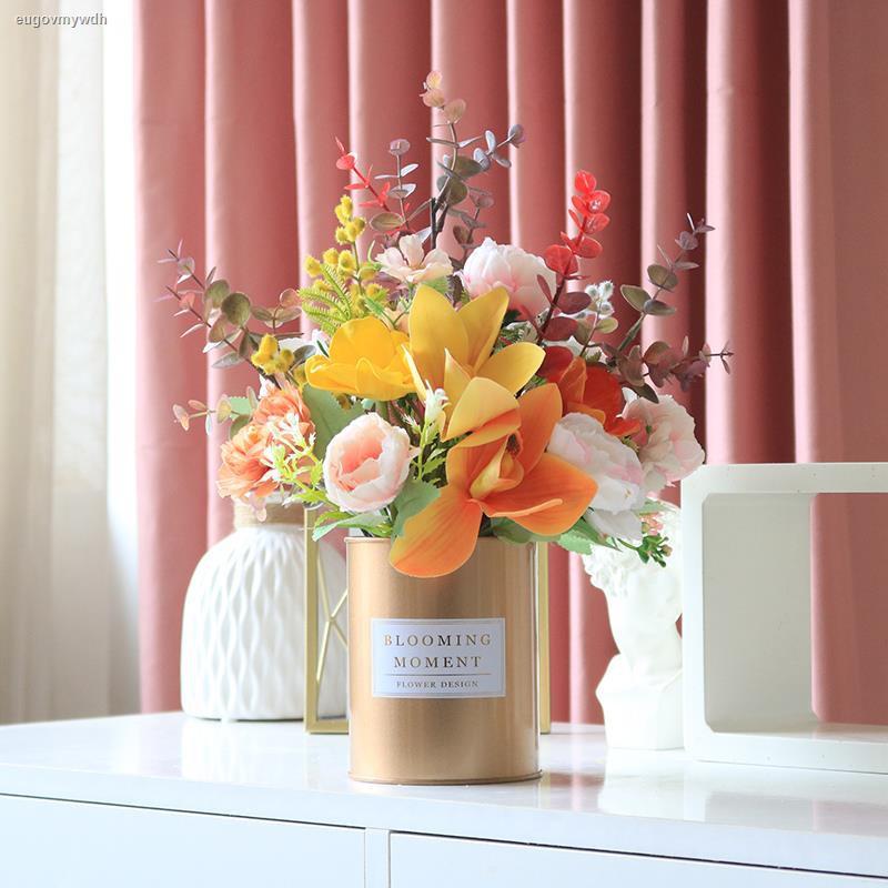 การจำลองพันธุ์ไม้อวบน้ำ℗๑✓ดอกทานตะวัน Phalaenopsis จำลองดอกไม้พลาสติกดอกไม้ปลอมตกแต่งโต๊ะรับประทานอาหารดอกไม้แสงหรูหราตก