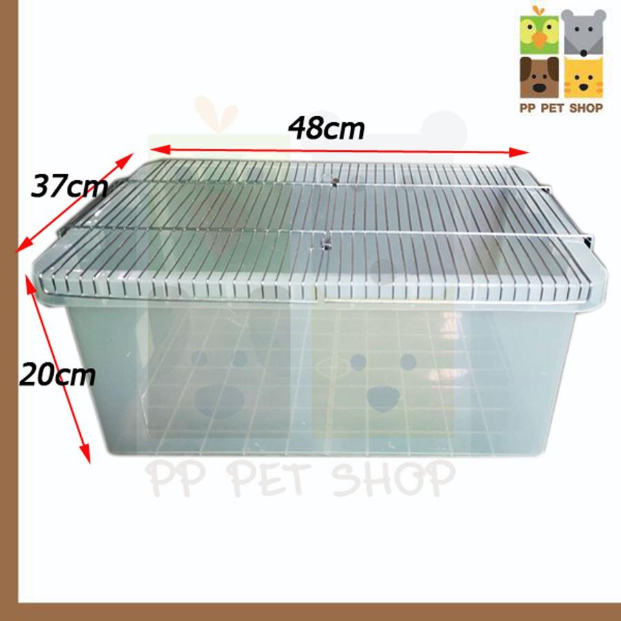 กล่องเพาะเม่น กล่องเพาะหนูแฮมเตอร์ และนก ขนาด 37 x 48 x 20 cm พร้อมฝาตระแกง ราคา 380 บ.