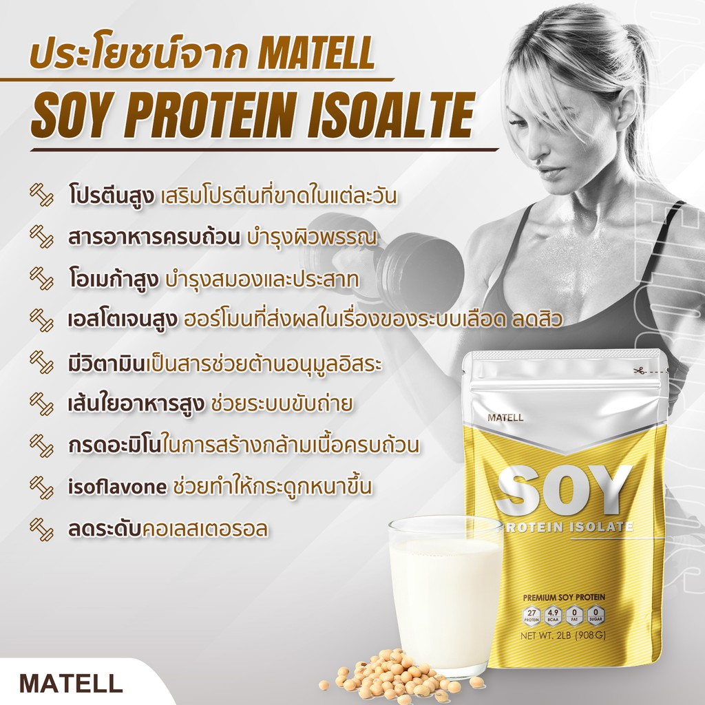 ( ปรับปรุงใหม่!! ละลายง่ายขึ้น ) Soy Protein Isolate 2 lb ซอย โปรตีน ไอโซเลท 908กรัม (Non Wheyเวย์) ลดไขมัน+เพิ่มกล้าม
