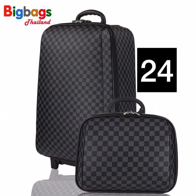 Glossga Bags | กระเป๋าเดินทาง ล้อลาก 4 ล้อคู่หลัง เซ็ทคู่กับกระเป๋าไซส์เล็ก 24 นิ้ว / 14 นิ้ว | Grey Black