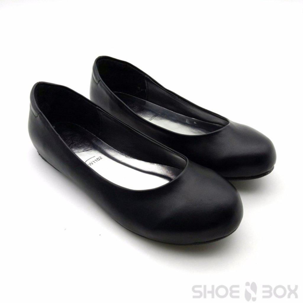 Rovy รองเท้าคัชชูผู้หญิง ส้นแบน รองเท้าทางการ W1102 สีดำ  คุณภาพดี