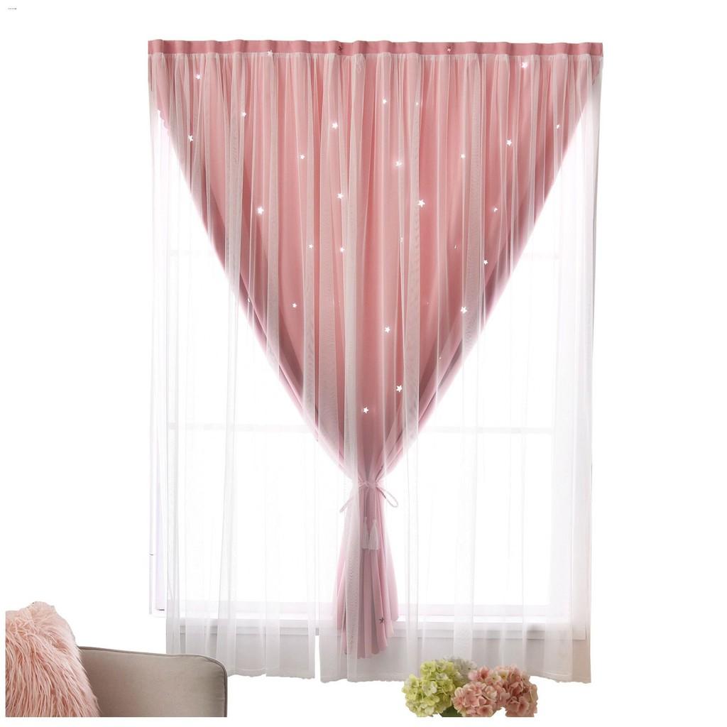 ▥✻▧ผ้าม่าน ผ้าม่านทึบ ผ้าม่านหน้าต่าง ผ้าม่านสำเร็จรูป  ผ้าม่าน Velcro แบบเจาะรูสำหรับห้องเช่าหอพักผ้าม่านทึบสีแดงสั