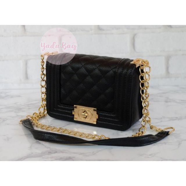 กระเป๋าแฟชั่นสะพายข้าง สไตล์ Chanel-boy มีถุงผ้า ♡ GB-8816-3