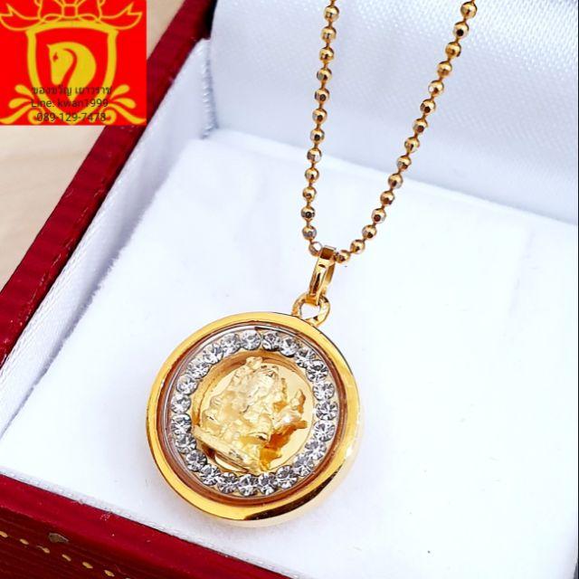 (ยืนยันราคาถูก)พระพิฆเนศว์ ทรงกลมล้อมเพชร เลี่ยมทองคำแท้ มีใบคาถาทุกองค์