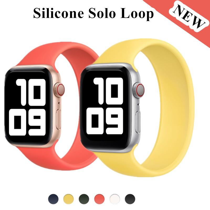 Apple Watch 6 Band Solo Loop สำหรับ Iwatch 5 4 3 2 38mm 40mm 42mm 44mm ซิลิโคนยืดหดได้สำหรับ Iwatch Series 1 ใหม่ นาฬิกาสายยาง สาย Apple Watch Apple Watch Band Applewatch