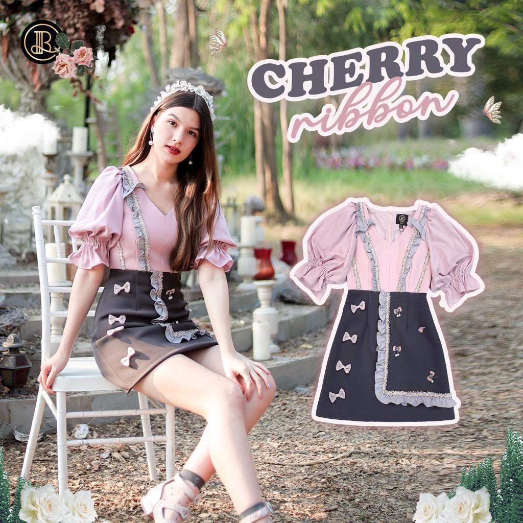 BLT BRAND การันตีเสื้อผ้าแบรนด์แท้ มินิเดรสสีชมพูแขนตุ๊กตา น่ารักมาชุดนี้ CHERRY RIBBON เหลือ Size XS