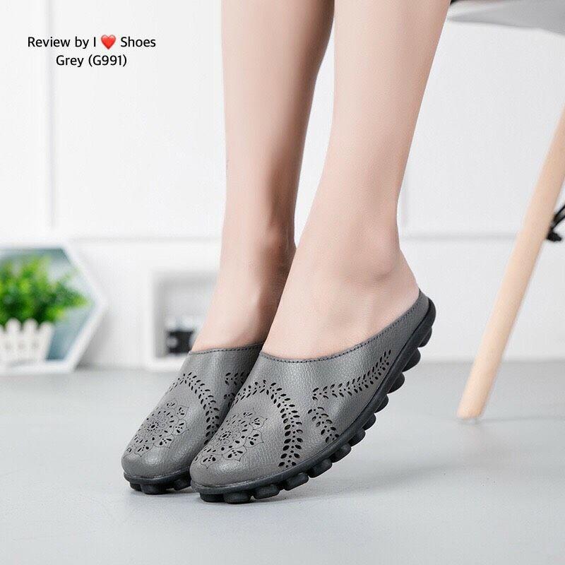 รองเท้าคัชชูเปิดส้นงานพื้นสุขภาพ