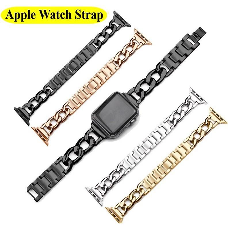 ☃✔✴Luxury Chain สายนาฬิกา Apple Watch Straps เหล็กกล้าไร้สนิม สาย Applewatch Series 6 5 4 3 2 1, SE Stainless Steel สาย