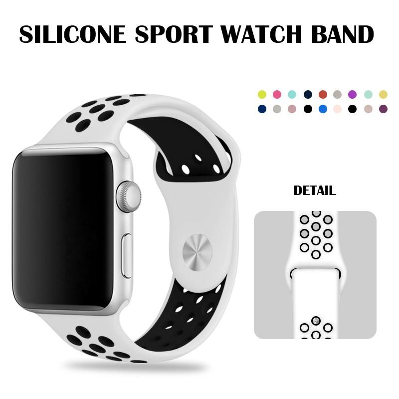 สายนาฬิกาข้อมือซิลิโคน 44 มม. สําหรับ Apple Watch Series 5 4 White Nike Strap 40 มม. สําหรับ Iwatch Series 2 42 38 มม.