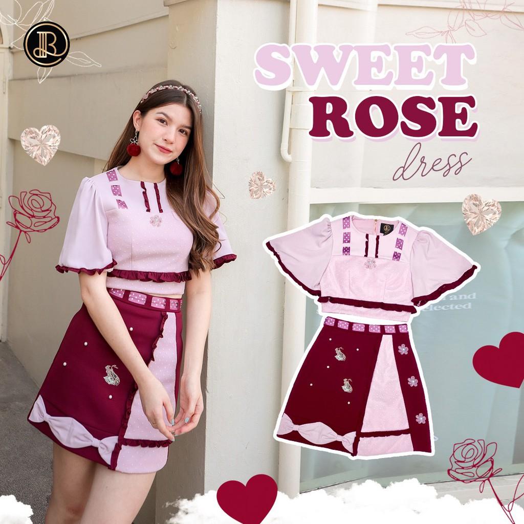 BLT BRAND การันตีเสื้อผ้าแบรนด์แท้ เซตเสื้อกระโปรง สีชมพูแดง SWEET ROSE
