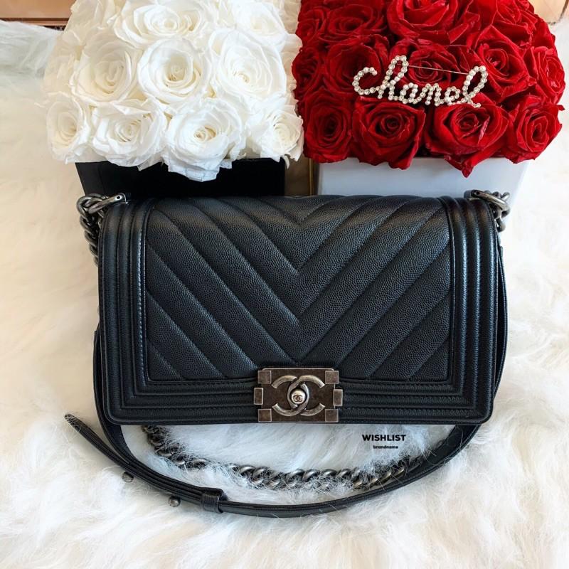 "Like New Chanel Boy 10"" Chevron Caviar Holo24"
