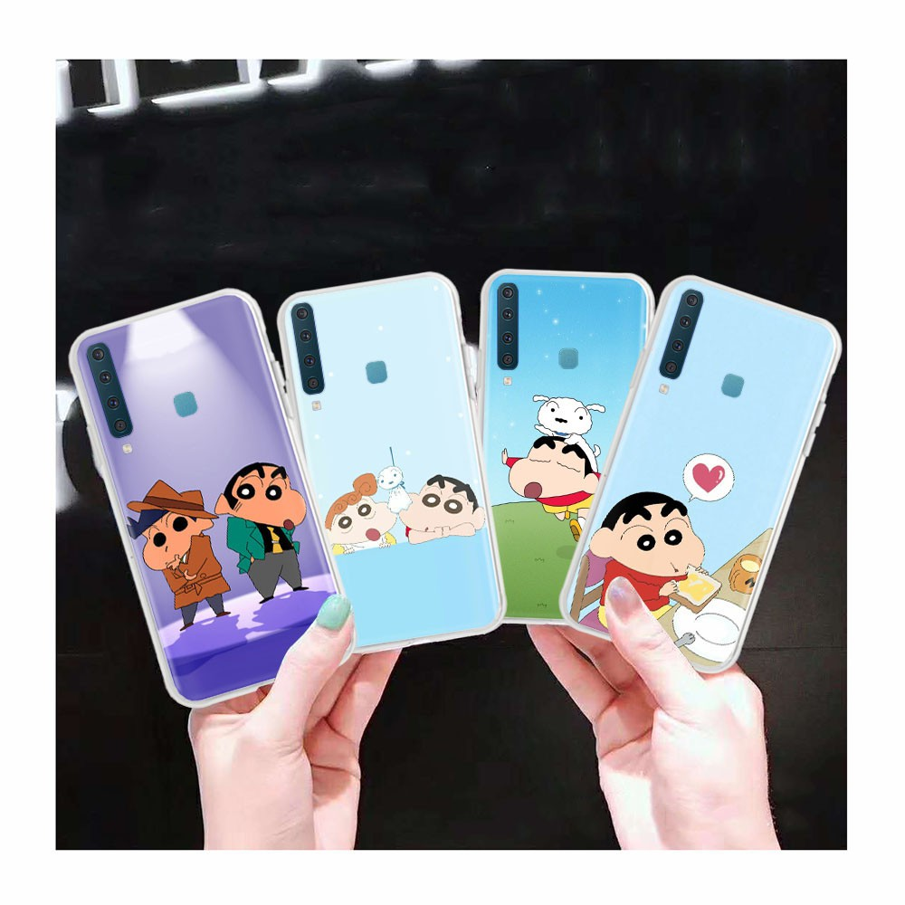 AT27 Crayon Shin-chan Transparent Case for Samsung Galaxy Note 8 A6 Plus A8 Star A9 Pro
