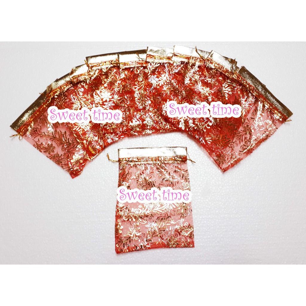ถุงผ้าไหมแก้วดิ้นทอง ถุงใส่ของชำร่วย ถุงใส่ของรับไหว้งานแต่ง ราคาถูก