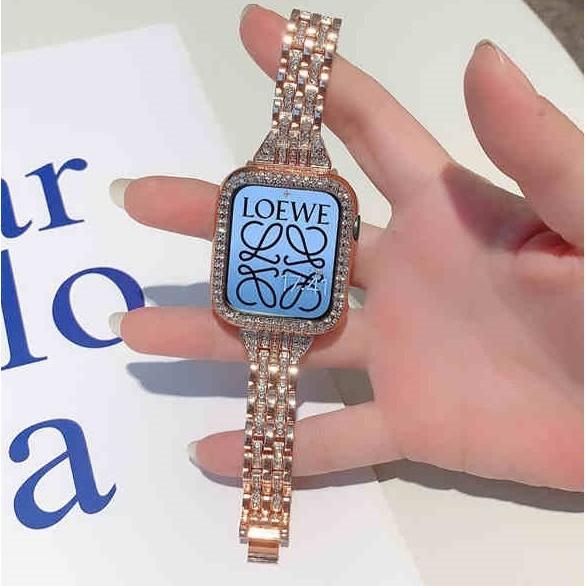 ♧Apple Watch สายนาฬิกา + เคส รูปสี่เหลี่ยมขนมเปียกปูน สาย applewatch Diamonds Straps for สาย applewatch Apple watch Seri