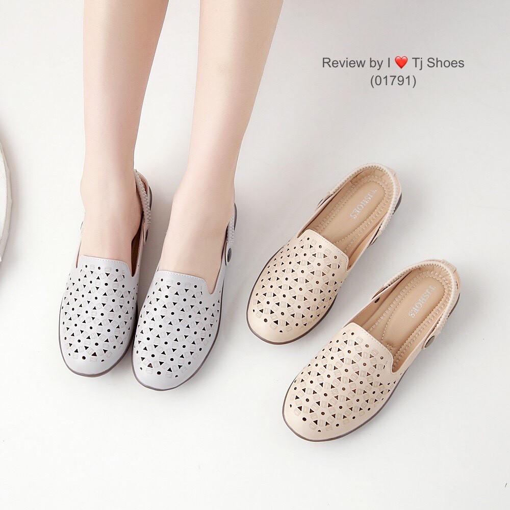 ไซส์36-41 รองเท้าเพื่อสุขภาพผู้หญิง Tj Shoes 01791 นุ่มเบาใส่สบาย หนังนิ่ม เปิดส้น เปิดท้าย รัดส้น คัชชู ผ้าใบ ไซส์พิเศษ