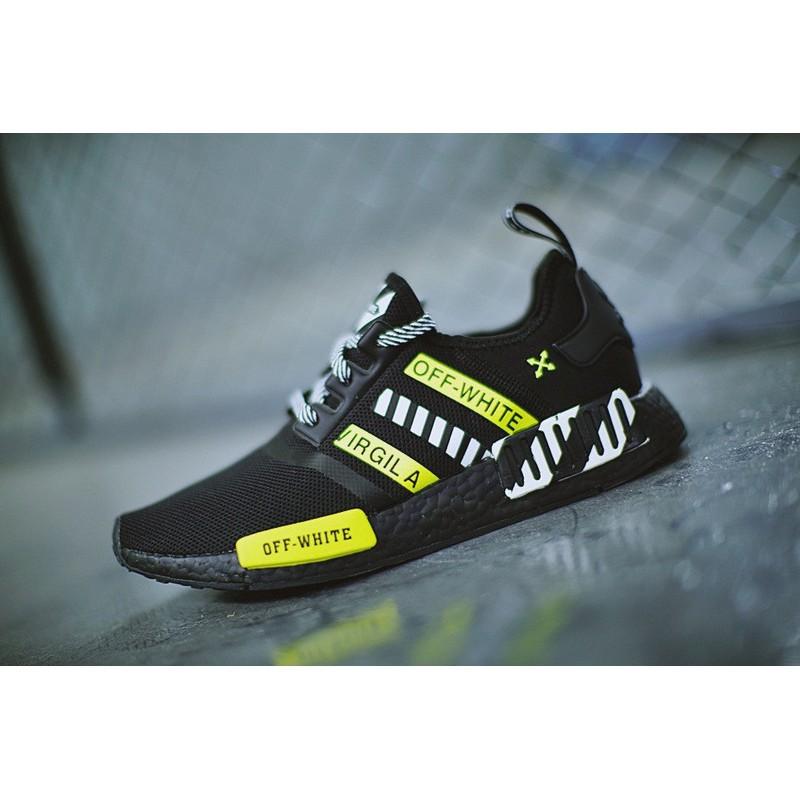 off - white x adidas nmd r 1 boost series รองเท้าผ้าใบลําลองสีดําสีขาวเขียวสะท้อนแสง
