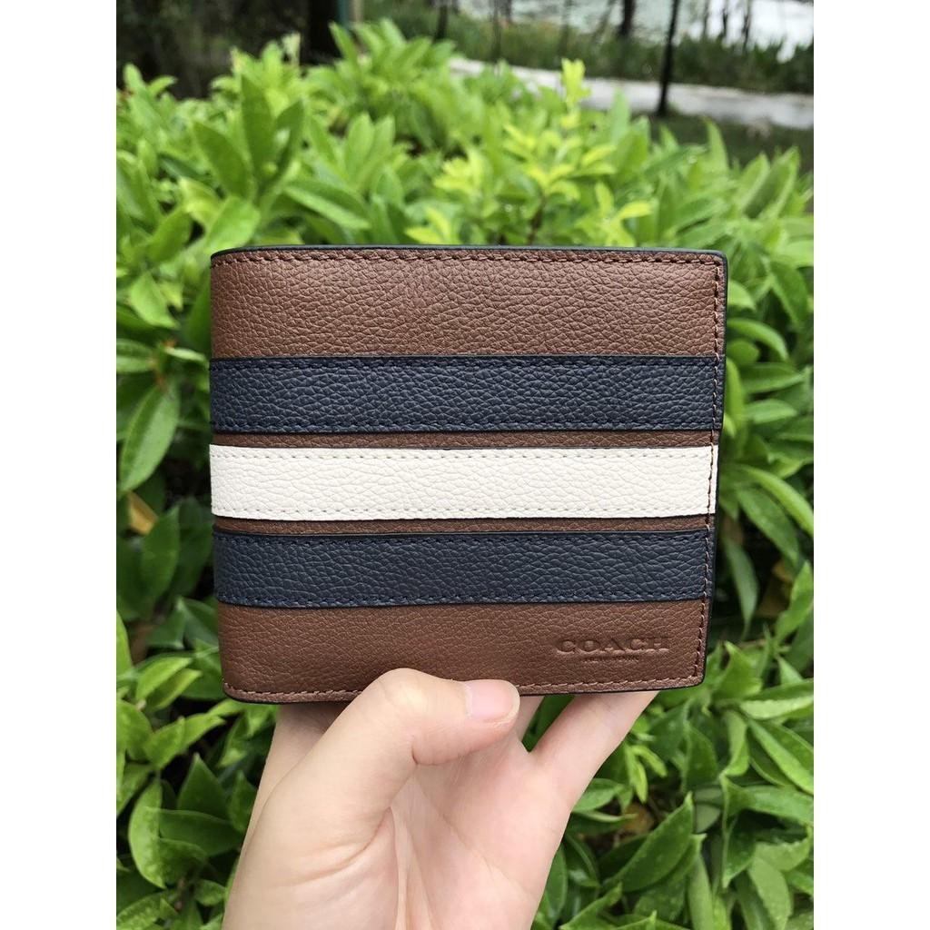 Coach แท้ กระเป๋าสตางค์ กระเป๋าสตางค์ผู้ชาย กระเป๋าสตางค์ใบสั้น F24649 กระเป๋าสตางค์หนัง