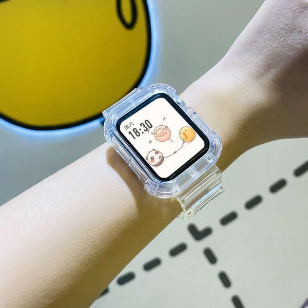 สาย applewatch เหมาะสำหรับ applewatch5 / 6 Apple watch SE สาย iwatch Integrated glacier จำกัด 3/4 รุ่น 2 โปร่งใส 44mm40