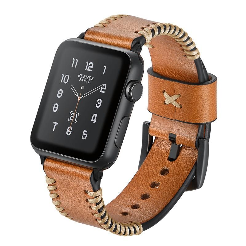 【Apple Watch Strap】เหมาะสำหรับ apple watch6 สายหนัง iwatch 2 3 4 5 รุ่นที่ 6 watch calfskin series สายรัดข้อมือโลหะหั